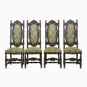 19th-Century Carved Oak Dining Chairs, Set of 4