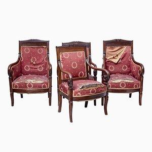 Dänische Stühle aus Mahagoni, 19. Jh., 4er Set
