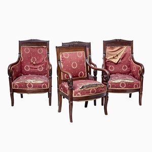 19th-Century Danish Mahogany Armchairs, Set of 4