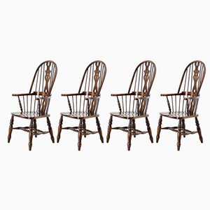Oak and Elm Windsor Armchairs from Beven & Funell, 1970s, Set of 4