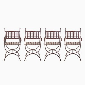 Wrought Iron Garden Chairs, 1920s, Set of 4