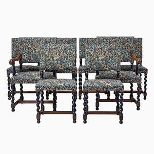 19th-Century Oak Barley Twist Dining Chairs, Set of 8