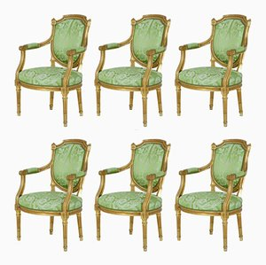 Antique Gilt Armchairs, Set of 6