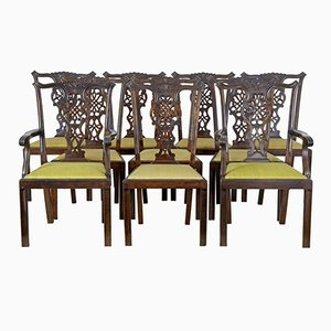 Antique Swedish Carved Birch Dining Chairs, Set of 10