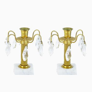 Ornate Cut Glass Candleholders, 1930s, Set of 2