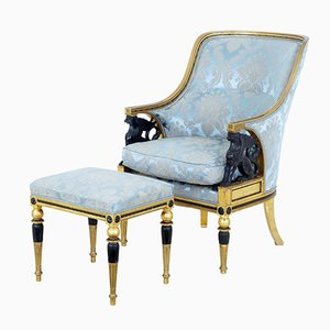 19th-Century Swedish Gilt Armchair & Stool