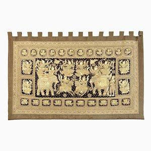 Tapiz indio estilo antiguo grande bordado, años 70