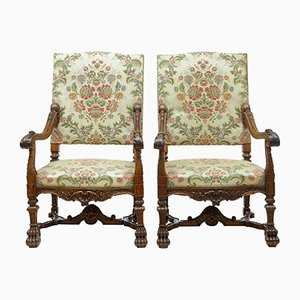 19th-Century French Carved Walnut Armchairs, Set of 2