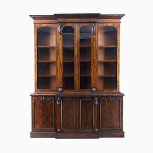 Antikes viktorianisches Breakfront Bücherregal aus geflammten Mahagoni