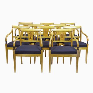 Antike schwedische Stühle aus geschnitzter Birke, 10er Set