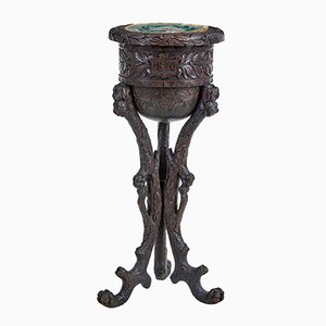 Antique Northern European Carved Oak Plant Stand or Side Table