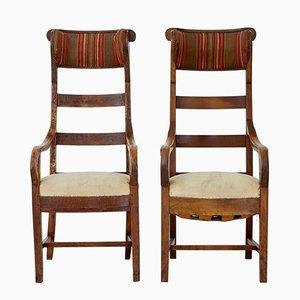 Antike Stühle aus Obstholz mit hohen Rückenlehnen, 2er Set