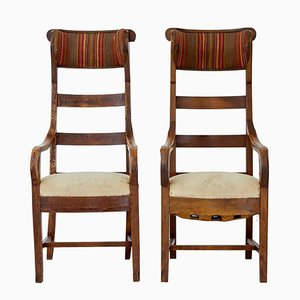 Antique Fruitwood High Back Armchairs, Set of 2