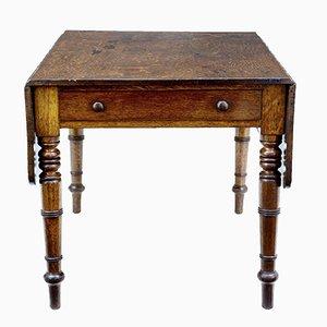 Mesa abatible victoriana antigua de roble con cajón