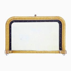 Kleiner antiker viktorianischer Spiegel mit bemaltem Gipsrahmen