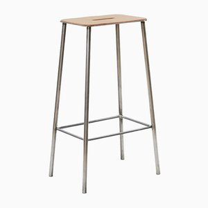 Leather & Raw Steel Adam Stool by Toke Lauridsen for FRAMA