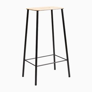 Natural Leather & Black Steel Adam Stool by Toke Lauridsen for FRAMA