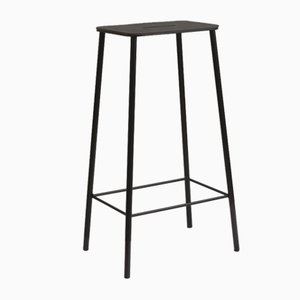 Black Leather Adam Stool by Toke Lauridsen for FRAMA