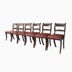 Antique Bar Back Dining Chairs, Set of 6