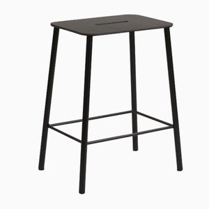 Black Leather & Black Steel Adam Stool by Toke Lauridsen for FRAMA