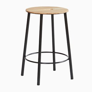 R031 Adam Stool in Oak & Black Steel by Toke Lauridsen for FRAMA