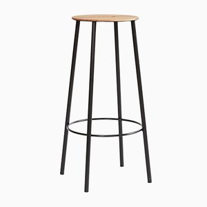 R031 Adam Stool in Oak & Black Steel from FRAMA