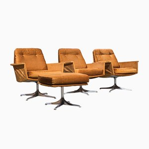 Vintage Sedia Armchairs & Ottoman by Horst Brüning for Cor, 1966, Set of 4