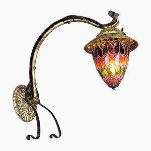 Lampada da parete antica Art Nouveau in vetro colorato
