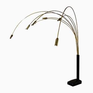 Große 7-Leuchten Stehlampe aus Messing, 1970er