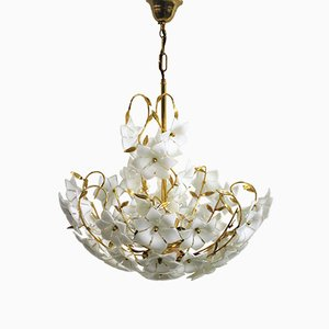 Brass & Murano Glass Floral Chandelier, 1970s