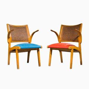 Schwedische Stühle aus Korbgeflecht & Eiche von Bengt Akerblom, 1950er, 2er Set