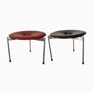 Red & Black Vinyl Stools by Uno & Östen Kristiansson for Luxus, 1962, Set of 2