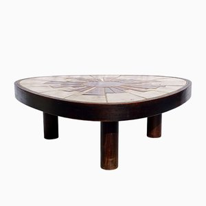Round Vallauris Ceramic Coffee Table from Barrois, 1960s