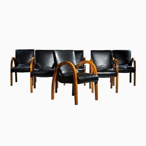 Art Deco Esszimmerstühle aus Mahagoni & Leder, 1930er, 6er Set