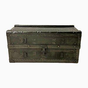 Baúl vintage de madera y metal, años 50