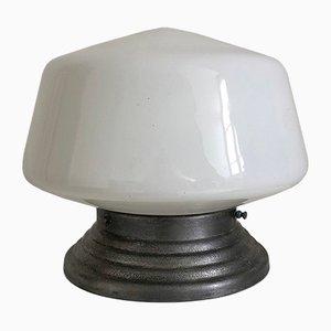 Lampada Art Deco in metallo e vetro