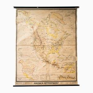 Carte Géographique de l'Amérique Mid-Century, France