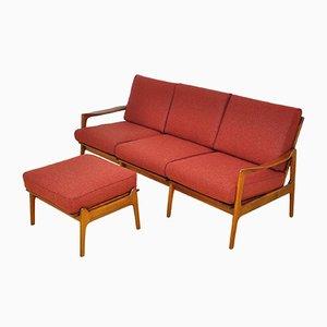 Danish Wool & Cherry Wood Sofa & Stool, 1960s