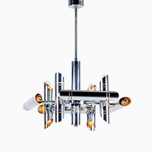 Vintage Geometric Chrome Chandelier by Gaetano Sciolari for Boulanger
