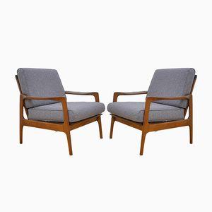 Danish Wool & Cherry Wood Armchairs, 1960s, Set of 2