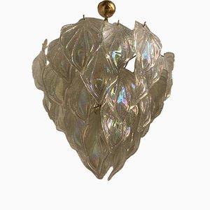 Lámpara de araña Mid-Century con hojas de cristal de Murano opalescente