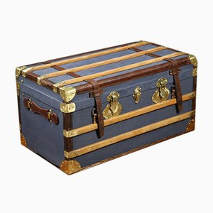 Vintage Leather and Brass Mail Trunk, 1920s