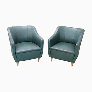 Vintage Green Leather Armchairs, 1960s, Set of 2