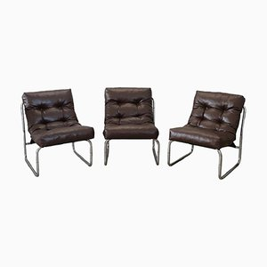 Vintage Brown Leather Armchairs, 1980s, Set of 3