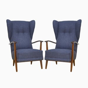 Vintage Wingback Chairs, 1950s, Set of 2