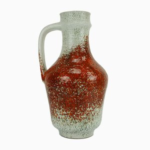 Vase de Plancher Rouge et Gris Vintage par Fridegart Glatzle pour Karlsruher Majolika