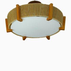 Lampada da soffitto in teak, sisal e plastica di Temde, anni '60