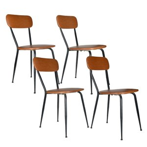 Italian Leatherette & Iron Kitchen Chairs, 1960s, Set of 4