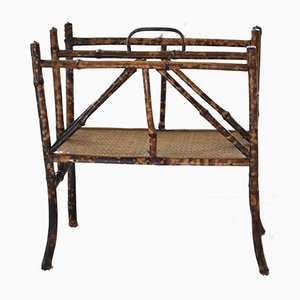 Antique Bamboo & Rattan Magazine Rack, 1880s