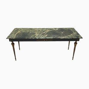Mesa de centro vintage de latón y mármol verde, años 50